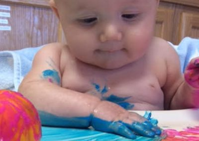 Infant finger painting